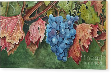Wood Print featuring the painting Old Vine Zinfandel by Debbie Hart
