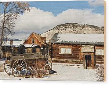 Wood Print featuring the photograph Old Wagon And Ghost Town Buildings by Sue Smith