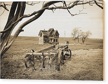 Old Wagon And Homestead II Wood Print by Athena Mckinzie
