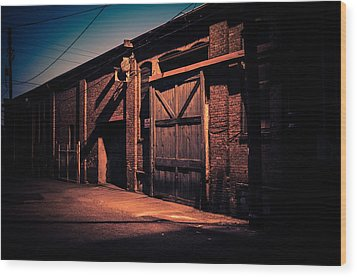 Old Warehouse Building At Night In Georgetown Seattle Wood Print by Brian Xavier