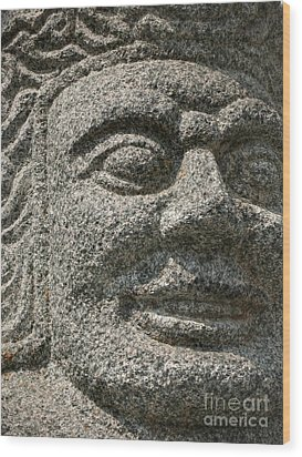Old Warrior Sculpture Wood Print by Yali Shi