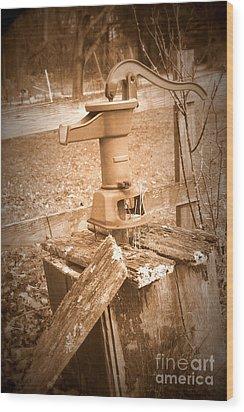 Old Water Pump Sepia Wood Print
