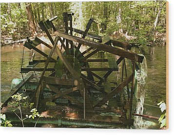 Wood Print featuring the photograph Old Waterwheel by Cathy Harper