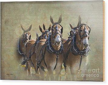 Old West Mule Train Wood Print by Betty LaRue