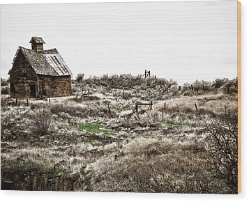 Old West School  Wood Print by Steve McKinzie