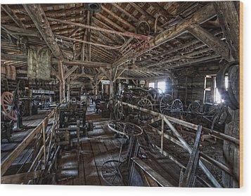 Old West Wagon Storage And Shop Wood Print by Daniel Hagerman