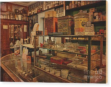 Old Western General Store Counter Wood Print by Janice Rae Pariza
