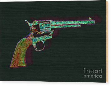Old Western Pistol - 20130121 - V1 Wood Print by Wingsdomain Art and Photography