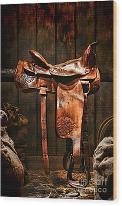 Old Western Saddle Wood Print by Olivier Le Queinec