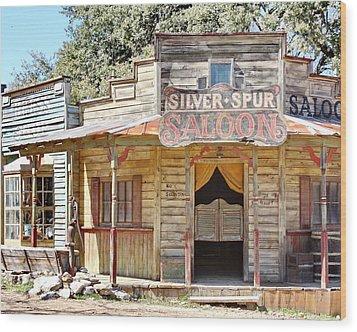 Old Western Saloon Wood Print