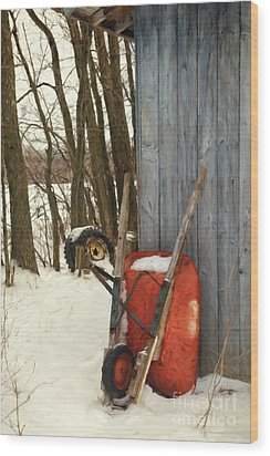 Wood Print featuring the photograph Old Wheelbarrow Leaning Against Barn/ Digital Painting by Sandra Cunningham