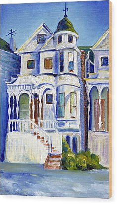 Wood Print featuring the painting Old White Victorian In Oakland California by Asha Carolyn Young