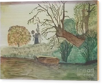 Wood Print featuring the painting Old Willow And Boat by Tracey Williams