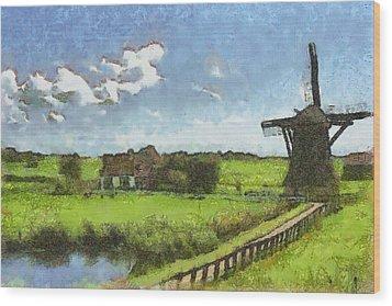 Old Windmill Wood Print by Ayse Deniz