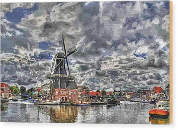 Old Windmill On The Shore Wood Print by Maciek Froncisz