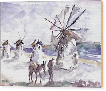 Old Windmills At Bodrum Wood Print by Faruk Koksal