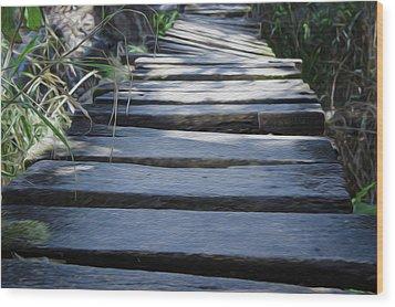 Old Wodden Bridge Wood Print by Aged Pixel