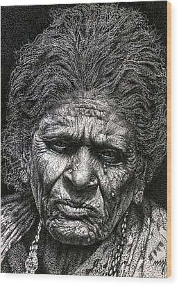 Old Woman In Sad Wood Print by Johnson Moya