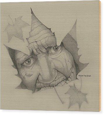 Old Woman Leaf  Wood Print