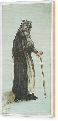 Old Woman Seen From Behind Wood Print by Vincent van Gogh
