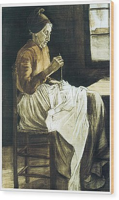 Old Woman Sewing Wood Print by Vincent van Gogh