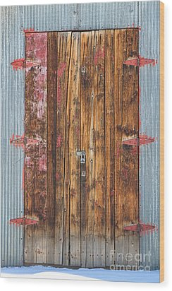 Old Wood Door With Six Red Hinges Wood Print by James BO  Insogna