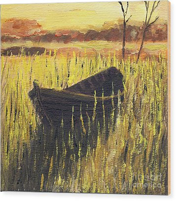 Old Wooden Boat In The Reeds  Wood Print