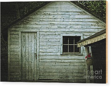 Old Wooden Building Onaping Wood Print by Marjorie Imbeau