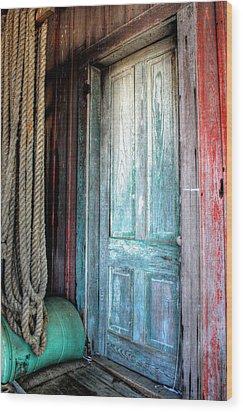Old Wooden Door Wood Print by Lynn Jordan