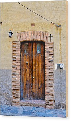 Old Wooden Door - Mexico - Photograph By David Perry Lawrence Wood Print by David Perry Lawrence