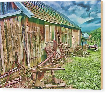 Old Wooden Shed Wood Print by Roman Milert