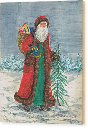 Old World Father Christmas 5 Wood Print by Barbel Amos