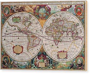 Old World Map Wood Print by Csongor Licskai
