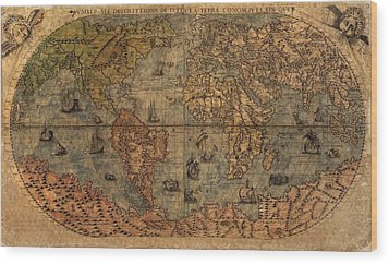 Old World Map Wood Print by Dan Sproul