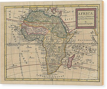 Old World Map Of Africa Wood Print by Inspired Nature Photography Fine Art Photography