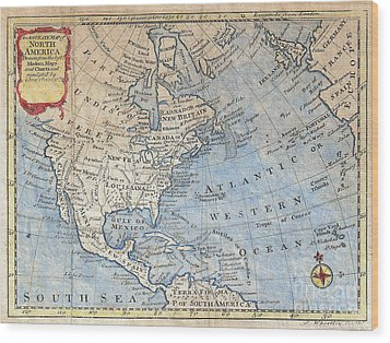 Old World Map Of North America Wood Print by Inspired Nature Photography Fine Art Photography