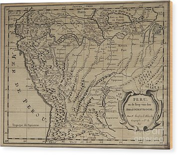 Old World Map Of Peru Wood Print by Inspired Nature Photography Fine Art Photography