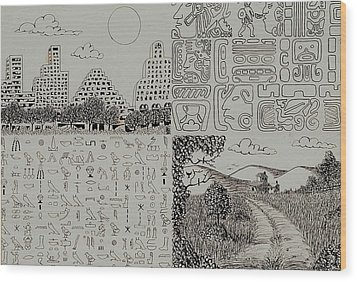 Old World New World Wood Print