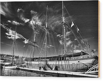 Old World Sailboat Wood Print by John Rizzuto