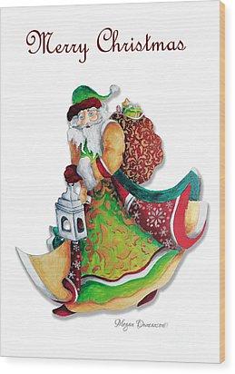 Old World Santa Christmas Art Original Painting By Megan Duncanson Wood Print by Megan Duncanson