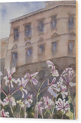 Old World Windowbox Wood Print by Mary Benke