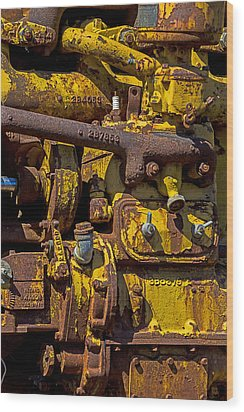 Old Yellow Motor Wood Print by Garry Gay