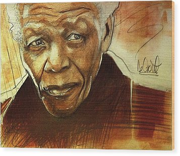 Older Nelson Mandela Wood Print