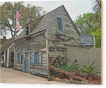 Oldest Wood School House In The Usa Wood Print by Marion Johnson