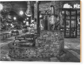 Ole Smoky Tennessee Moonshine In Black And White Wood Print by Greg and Chrystal Mimbs