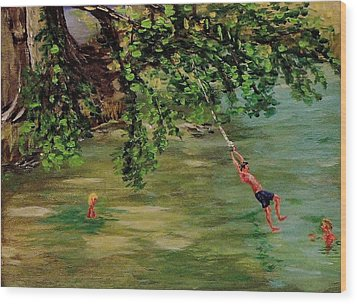Ole' Swimming Hole Wood Print