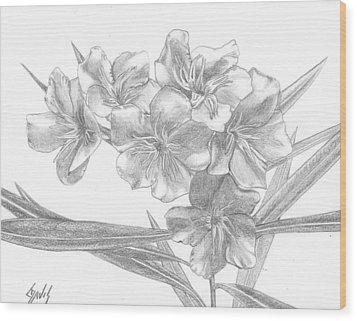 Oleander Wood Print by Lew Davis