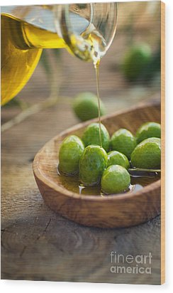 Olive Oil Wood Print by Mythja  Photography