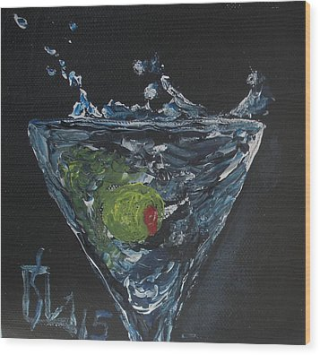 Olive Splash Wood Print