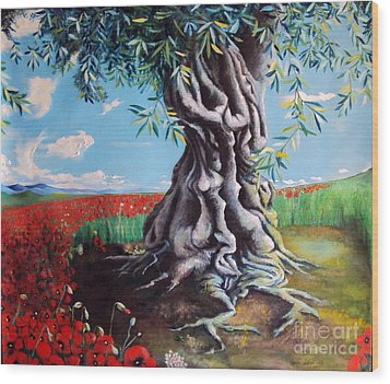Olive Tree In A Sea Of Poppies Wood Print by Alessandra Andrisani
